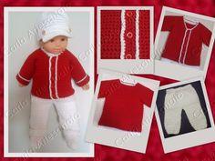 Carla Artesanato: Conjunto Vermelho e branco em crochet