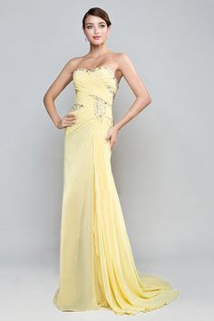 sweetheart long chiffon yellow #formal #dress online at dressesmallau.co