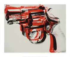 Gun, c.1981-82 (black and red on white) Giclee Print by Andy Warhol at Art.com