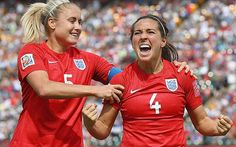 England finish third at Women's World Cup after 1-0 victory over Germany - Winning feeling: Fara Williams (right) celebrates scoring a penalty against Germany - Photo: GETTY IMAGES (via telegraph.co.uk)