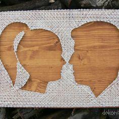 Couple profile string art