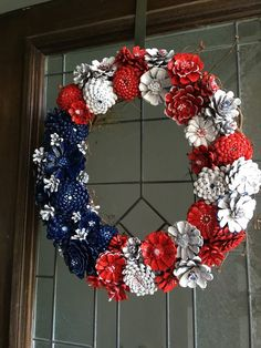 Pinecone Wreath - Red, White and Blue Pinecone Patriot