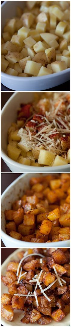 Parmesan Roasted Potatoes Recipe 4 cups cubed Yukon Gold potatoes 3 tbsp olive oil 1/2 tsp garlic salt 1/2 tsp salt 2 tsp paprika 1 tsp pepper 4 tablespoons freshly grated Parmesan cheese Bake 425 degrees, roast until they are golden and crispy. Season with an little dusting of sea salt and extra parmesan cheese and serve.