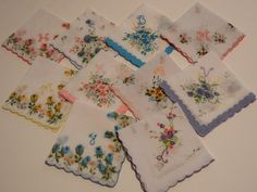 Hand Embroidered Handkerchiefs - Set of TEN Thin Script Initials -- Initial Letter Embroidery Handkerchief. $50.00, via Etsy.
