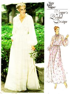 Vogue 2053 Very Easy Retro 1970s Bridal Design Wedding Dress and Cummerbund Sewing Pattern by DRCRosePatterns on Etsy