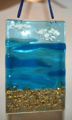 Beach small panel. www.firefusionartglass.co.uk