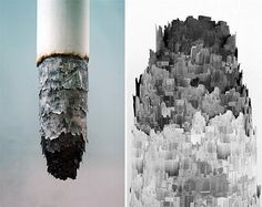 """In """"Cigarette Ash Landscape"""", Chinese artist and photographer Yang Yongliang suspends a huge cigarette sculpture above a pile of black and white photos, fake grass and artificial flowers. Upon closer examination, the tip of the cigarette reveals a tiny city made of fastidiously layered, paper-cut urban skylines."""