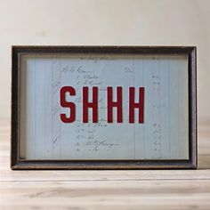 Shhh Sign Framed now featured on Fab.