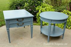 Tables spray painted in Slate Blue satin by Rustoleum.  Loving this color!!