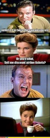 I'd love to see Kirk and Janeway face off, she would so kick his ass :D