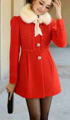 Love this red coat. #kfashion #overcoat
