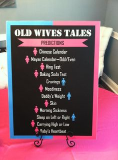 Gender Reveal Party - Old Wives Tales... Use mustache or Bows instead @Becky Hui Chan beck @Brandon Jones by cristina