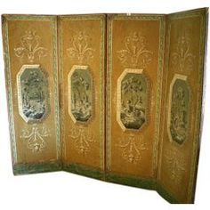 Four Panel Painted Folding Screen For Sale at 1stdibs