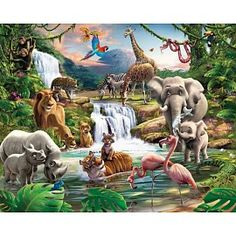 Bring a scene of adventure to your child's walls with this fun jungle themed wall mural that features an adorable pairing of baby animals and their. Bedroom Murals, Wall Murals, Wall Art, Wall Decal, Wall Stickers, Jungle Animals, Baby Animals, Adventure Of The Seas, Traditional Wallpaper