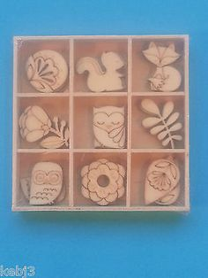 Mini Wooden Laser Cut 2cmTall Shapes Set of 9 (x3 of each shape) VARIOUS CHOICES