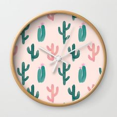 Painted Cactus Pattern on Pink Wall Clock by cafelab Pink Wall Clocks, Wall Clock Frame, Unique Wall Clocks, Cactus Craft, White Frames, Cacti, Natural Wood, Hands, Deep