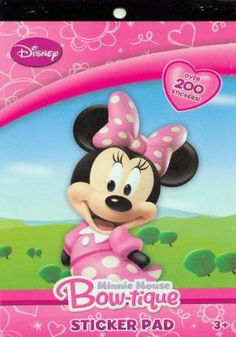 Minnie Mouse Bowtique Sticker Pad (200+ Stickers) by Minnie Mouse Bowtique. $5.75. Over 200 stickers.. Sticker pad featuring Minnie Mouse Bow-tique!. Officially licensed Disney Jr. product.. 4 page sticker pad measures 6 x 9 inches.. Over 200 stickers featuring Minnie Mouse and her friends.. Sticker pad featuring Minnie Mouse Bow-tique! Over 200 stickers featuring Minnie Mouse and her friends. 4 page sticker pad measures 6 x 9 inches. Over 200 stickers. Officially licens...