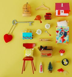Book Cover: Kazoku Theatre on Behance Retro Pop, Retro Vintage, I Spy Books, Dollhouse Furniture Kits, Things Organized Neatly, Collections Of Objects, Miniture Things, Creative Art, Miniatures