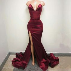 this burgundy satin mermaid dress is so sexy