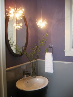 purple and gray powder room