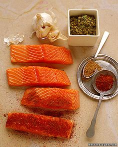 Chile-Rubbed Salmon with Papaya and Scallions - Martha Stewart Recipes