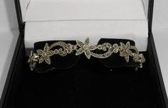 Beautiful Silver And Marcasite Bracelet. Flowers & Leaves.
