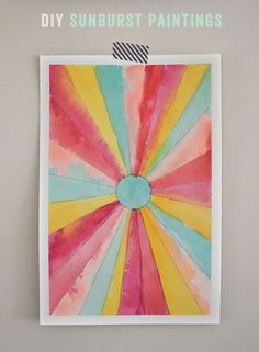DIY Sunburst paintings - beautiful art project for kids! @artbarblog for Small for Big