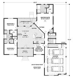 First Floor Plan of Country Craftsman House Plan 92385, would make some minor tweeks and it'd be perfect!