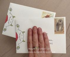 Stamped character on envelope www.nudgeink.blogspot.com