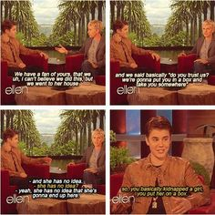 Ellen kidnaps a young child in the name of Justin Bieber hahaha.  She should do that to me and leave me on One Directions doorstep