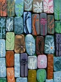Clay with designs from flowers and plants