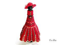 Crochet Dress for Champagne Bottle Cover Bottle by CreArtebyPatty