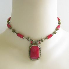 Vintage Czech Art Nouveau Deco Red Poured Glass Beaded Filigree Necklace by MyVintageJewels, $96.00