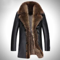 2017 Warm Fur Genuine Leather Men Coats -40 Degree Russia Warm Snow Fur Collar