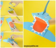 Shark Paper Hand Puppet Easy Peasy and Fun Inspiration Of Paper Plate Crafts Sea Animals. Blue Crafts, Fish Crafts, Arts And Crafts, Paper Plate Crafts For Kids, Crafts For Kids To Make, Toddler Crafts, Preschool Crafts, Kissing Hand Crafts, Paper Plate Crab
