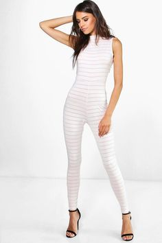 boohoo Holly High Neck Burn Out Stipe Jumpsuit - Jumpsuits are your day-to-night dress alternativeYour 70s style inspiration starts with a jumpsuit. Take your new season style up a notch in a wide leg number, prepare to party in head-to-toe prints or do denim differently in dungarees. For an androgynous take on the all- in-one, team the tux jumpsuit with boyish brogues. Girly-glam more your thing? You?ll be cocktail- ready in a high shine disco catsuit and skyscraper stilettos.