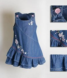 What can be done from the old denim things? (Sea of ideas and MC) Frocks For Girls, Kids Frocks, Little Girl Dresses, Toddler Girl Dresses, Kids Dress Wear, Kids Dress Patterns, Baby Frocks Designs, Fashion Kids, Kids Outfits