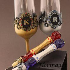 Steampunk personalized set Steampunk wedding glasses