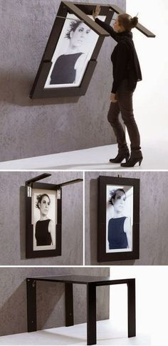 Life Hacks For Living Large In Small Spaces 2019 DIY Folding Table Doubles As Picture Frame. This would be great in a small kitchen or a playroom for kids! The post Life Hacks For Living Large In Small Spaces 2019 appeared first on Furniture ideas. Smart Furniture, Space Saving Furniture, Furniture Design, Furniture Ideas, Folding Furniture, Unique Furniture, Furniture Stores, Multipurpose Furniture, Furniture Showroom