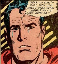 Even Superman can Cry!, Vintage Comic Book Art.