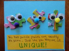 """""""No two puzzle pieces are exactly the same. Just like you, they are all . . . UNIQUE!"""" (like the phrase)  magnet craft"""