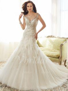 Bröllopsklänningar - $199.99 - Trumpet/Sjöjungfru V-ringning Kungliga Tåg Tyll Bröllopsklänning med Spetsar Pärlbrodering (00205003576)