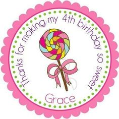 Sweet Lollipop Personalized Stickers - Favor Labels, Party Favor, Address Labels, Gift Tag, Birthday Stickers, Sweet Shoppe - Choice of Size