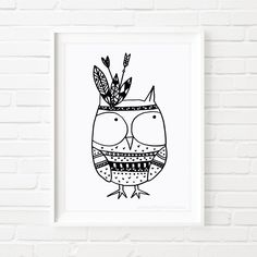Digital Printable Owl Indian, black and white art, kid's art, nursery art, children's art, illustrated print, illustrated art, whimsical art von MiniMoiPrints auf Etsy https://www.etsy.com/de/listing/244175677/digital-printable-owl-indian-black-and