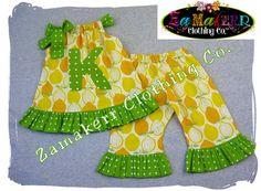 Custom Boutique Clothing Lemon N Lime Pillowcase Top Ruffle Pant Bottom Outfit Set 3 6 9 12 18 24 month size 2T 2 3T 3 4T 4 5T 5 6 7 8. $41.99 USD, via Etsy.
