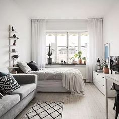 Small Studio Apartment Layout Design Ideas - home design Apartment Room, Apartment Design, Small Apartment Interior, Apartment Interior Design, Bedroom Design, Interior Design Apartment Small, Stylish Bedroom Design, Apartment Layout, Bedroom Layouts
