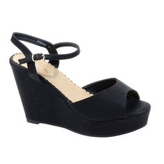 HerStyle Women's Manmade Sabanna 5-inch Peep Toe Wedge with Silver-Tone Buckle * Learn more by visiting the image link.