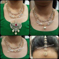 Multiway Use 3 n 1 Diamond Long Haram Diamond Necklace Set, Diamond Bangle, Diamond Jewelry, Gold Jewelry, Bridal Bangles, Gold Bangles, Diamond Tops, Gold Bangle Bracelet