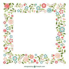 Ornamental projeto quadros flores Vetor grátis