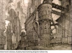 Gotham City design by Anton Furst Fantasy City, Steampunk Design, Alternate History, City Aesthetic, Cyberpunk Art, Environment Concept Art, Future City, Retro Futurism, Gotham City